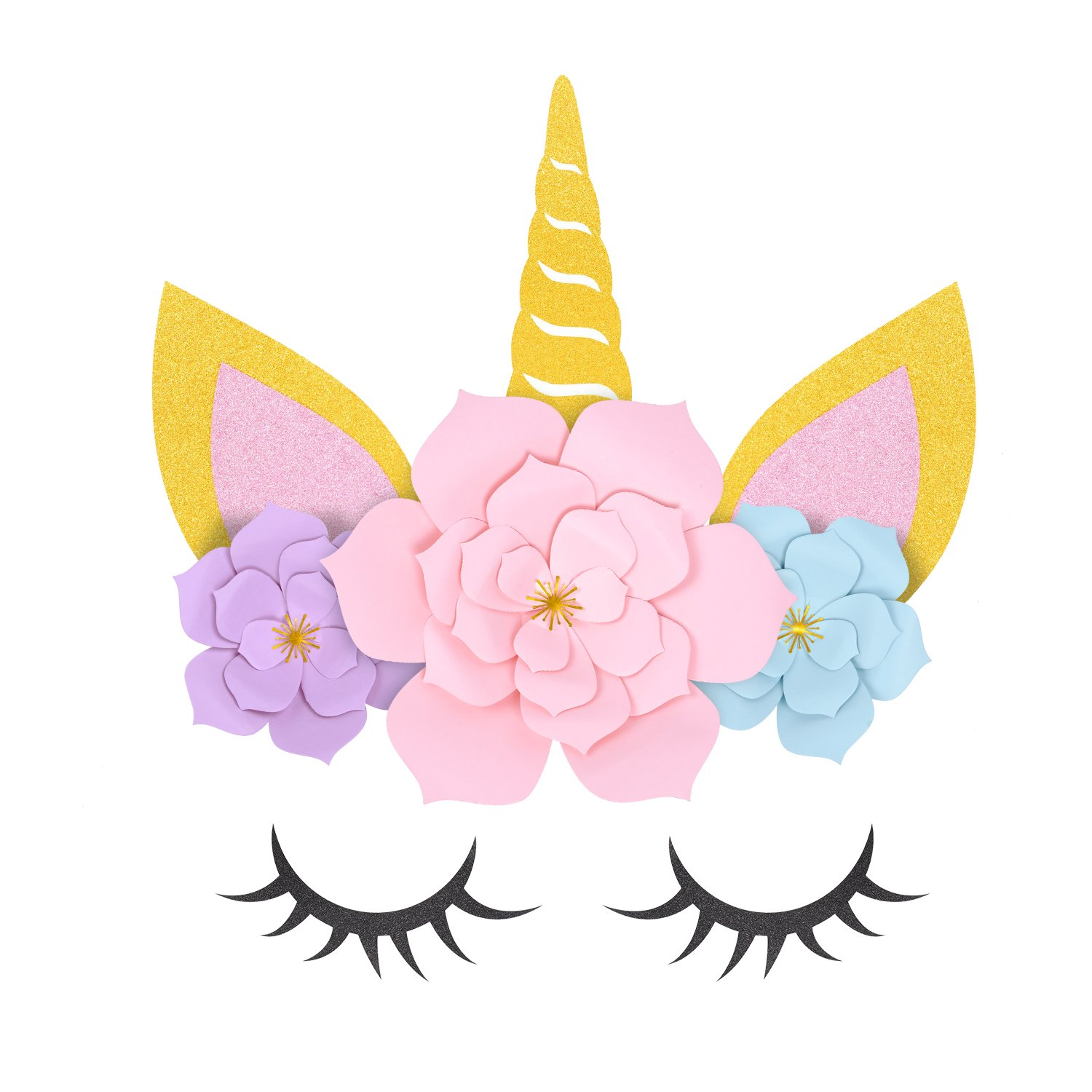 Crafts for Girls Ages 8-12 - DIY Unicorn Paper Flowers Kit with Glitter Giant Horn Ears Eyelashes - Room Decor Party Supplies and Decorations Backdrop for Kids Birthday Baby Shower