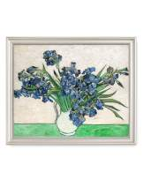 DECORARTS - Vase with Irises1889, Vincent Van Gogh Art Reproduction. Giclee Print& Framed Art for Wall Decor. 20x16, Framed Size: 23x19