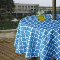 """Melaluxe Heavyweight Wrinkle-Free Stain Resistant Waterproof Outdoor Tablecloth with Umbrella Hole and Zipper, 60"""" Round-Zippered"""