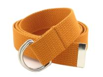 """Thin Web Belt Double D-Ring Buckle 1.25"""" Wide with Metal Tip Solid Color"""