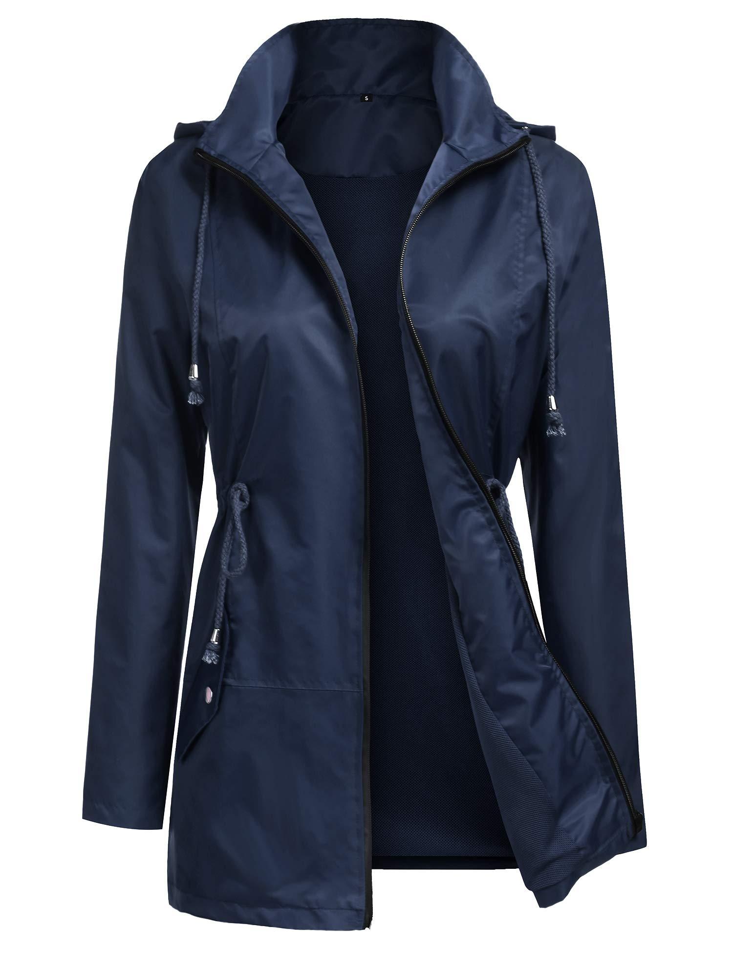 URRU Women's Lightweight Raincoats Waterproof Hoodie Outdoor Windbreaker Rain Jacket S-XXL