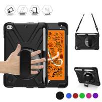 BRAECN iPad Mini 5 Case,iPad Mini 4 Case, Heavy Duty Shockproof Protective Rugged Case with Pencil Holder,Hand Strap,Kickstand, Shoulder Strap for iPad Mini 5th/4th Generation 7.9 Inch for Kids -Black
