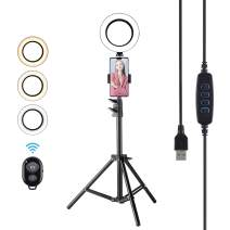 """Cliusnra LED Selfie Ring Light: 6.3"""" Small Tripod Stand Phone Holder Kit YouTube Video iPhone Ipad Photography Photo Vlog Makeup Dimmable Warm/White/Natural O-Light Desk Floor Large USB Halo Lamp"""
