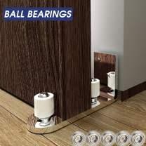Ball Bearings Design!!!Barn Door Floor Guide Stainless Steel| Stay Roller Sliding Adjustable | Completely Flush to Floor | Durable Steel Frame (Silver)