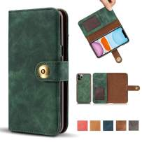 """iPhone 11 Pro Case, Vintage 2 in 1 [Magnetic Detachable] Flip Folio Wallet PU Leather Case Removable Retro [4 Card Slot] Holder Protective Cover for iPhone 11 Pro 5.8"""" - Green"""