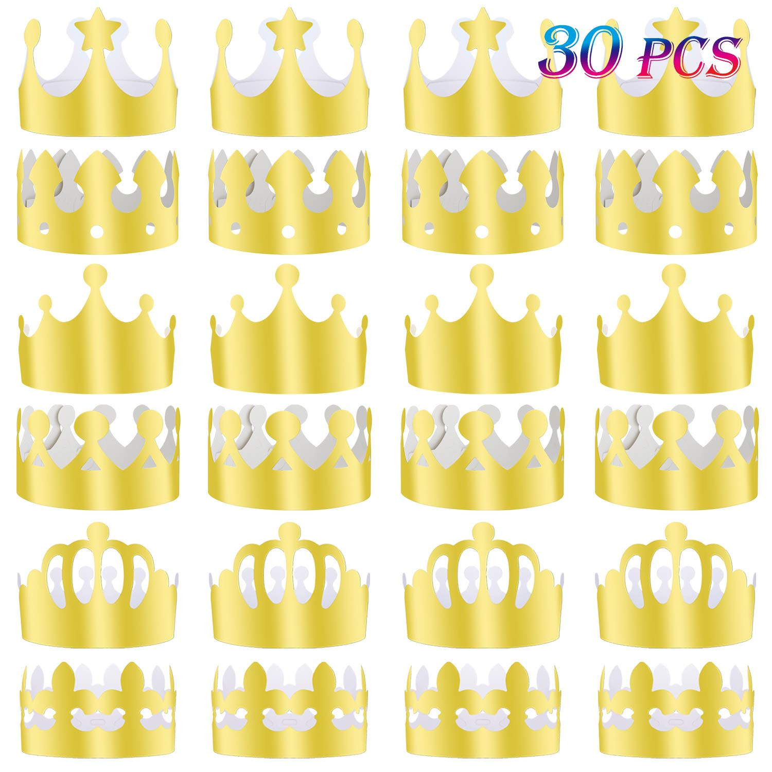 TUPARKA 30 Pcs Paper Crown Golden King Crowns Gold Foil Party Crown Hat Cap for Birthday Celebration Baby Shower Photo Props (6 Styles)
