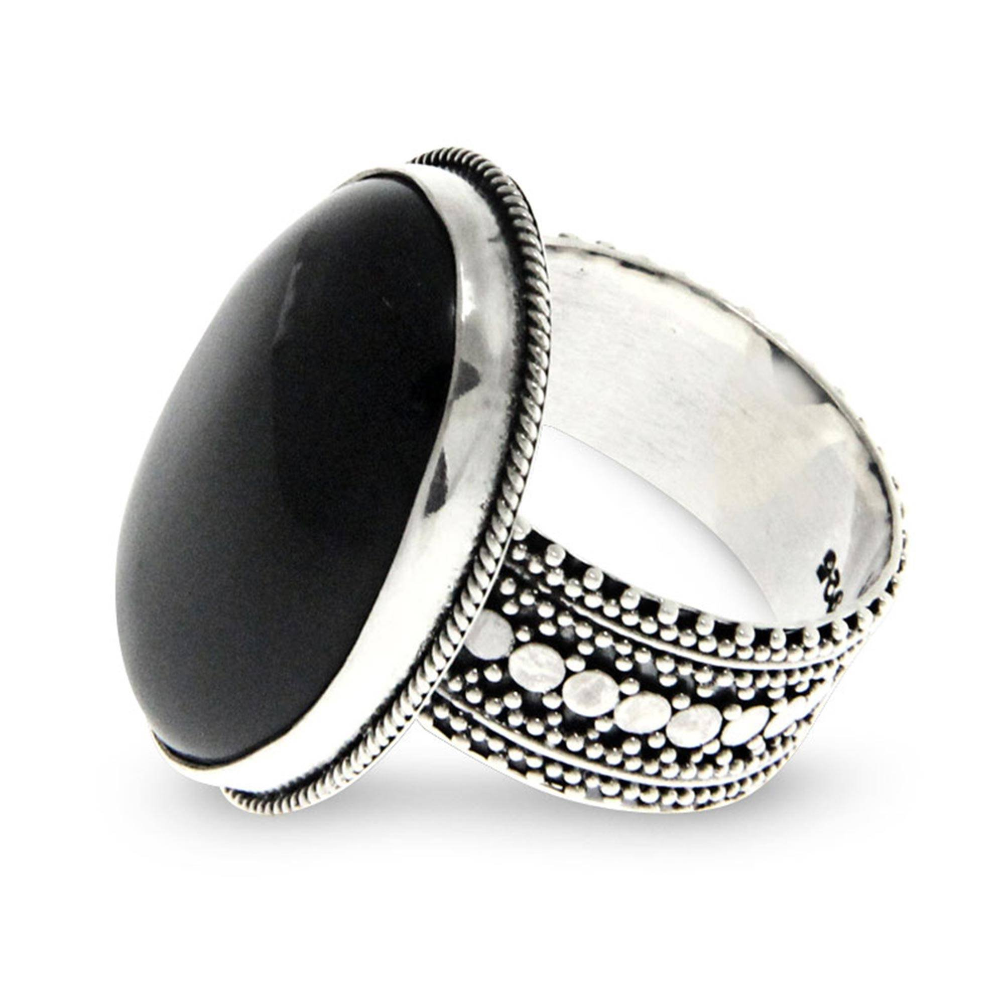 NOVICA Onyx .925 Sterling Silver Handmade Cocktail Ring, Oracle'