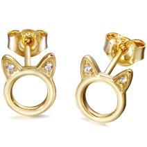 Cat Stud Earrings Sterling Silver Tiny Small Cute cat Earrings Cubic Zirconia Earrings for Women