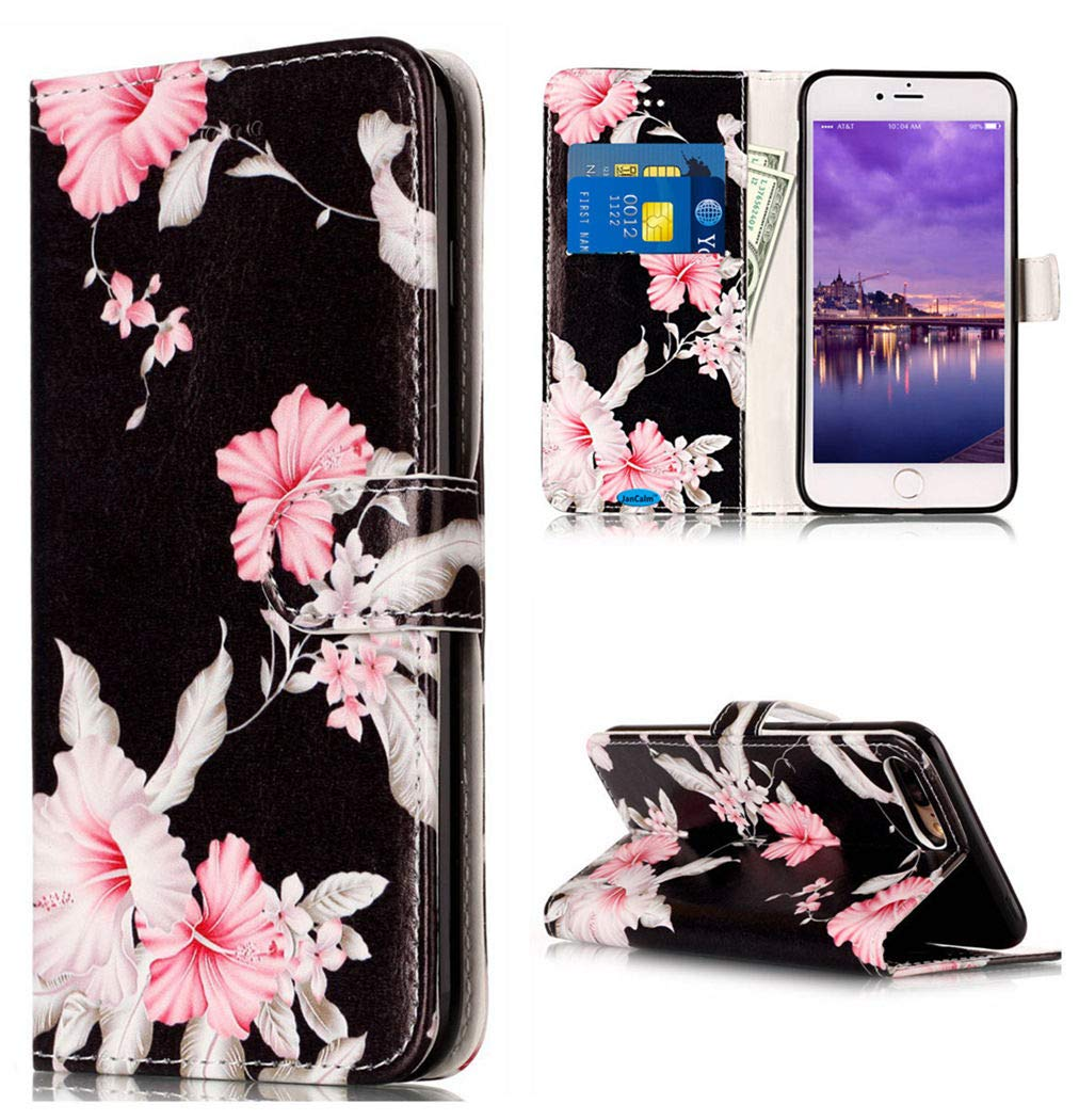 JanCalm iPhone 8 Plus Case, iPhone 7 Plus Case, iPhone 7/8 Plus Wallet case Pattern Premium PU Leather [Card/Cash Slots] Stand Magnetic Closure Flip Cover + Crystal Pen (Black/Flower)