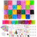22,000+ Rainbow Rubber Bands Refill Kit for Bracelets,Kids Bracelet Weaving DIY Kit-38 Colors Loom Bands,2Y Loom,600 S-Clips,52+ ABC Beads,30+ Charms,280+ Beads,Tassels,10+ Crochet Hooks&Storage Case
