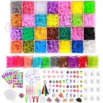 22,000+ Rainbow Rubber Bands Refill Kit for Bracelets,Kids Bracelet Weaving DIY Kit-38 Colors Loom Bands,2Y Loom,600 S-Clips,52+ ABC Beads,30+ Charms,280+ Beads,Tassels,10+ Crochet Hooks&Storage Case