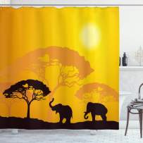 "Ambesonne Safari Shower Curtain, Wildlife Animals Elephants Sun Beams Trees Print Art, Cloth Fabric Bathroom Decor Set with Hooks, 84"" Long Extra, Earth Yellow"