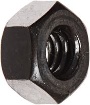 """Steel Hex Nut, Black Oxide Finish, Grade 5, ASME B18.2.2, 1/4""""-20 Thread Size, 7/16"""" Width Across Flats, 7/32"""" Thick (Pack of 100)"""