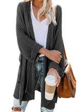 HZSONNE Women's Boho Open Front Kimono Bell Sleeve Casual Long Cardigan Sweater Batwing 3/4 Sleeve Knit Blouse Plus Size