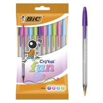 BIC Cristal Fun Ballpoint Pens Wide Point (1.6 mm) – Assorted Colours, Pouch of 10