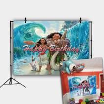 Daniu 7x5FT Cartoon Beach Moana Maui Beach Theme Photography Background Baby Shower Birthday Party Cake Table Decorations Banner Photo Backdrops Studio Props Banner