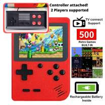 DigitCont Retro Game Console Mini Handheld Arcade, Built in with 500 Classic Games 2 Players Mode Portable Game Cabinet Machine Rechargeable Battery Inside Support Connect TV Red,Board Games