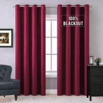 MIULEE 100% Blackout Curtains Thermal Insulated Solid Grommet Curtains/Drapes/Shades for Bedroom Living Room 2 Panels Burgundy Red 52x96 Inch