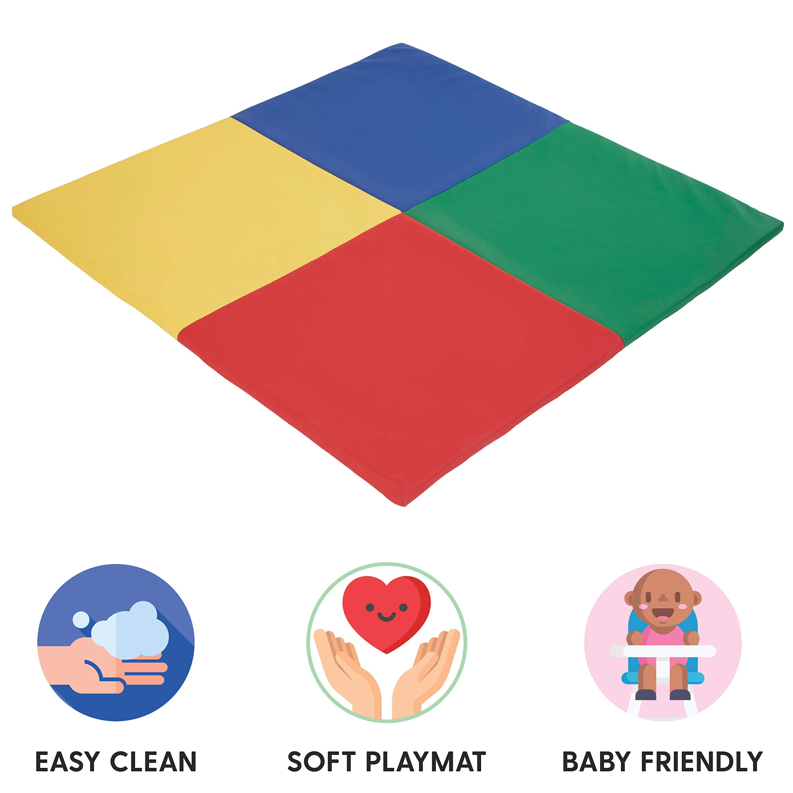 FDP SoftScape Squares Activity Mat for Infants and Toddlers, Tummy Time for Babies, Soft Foam Colorful Play - Assorted
