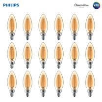 Philips LED Classic Amber Glass BA11 Dimmable Filament Light Bulb: 2700-Kelvin, 4-Watt (40-Watt Equivalent), E12 Base, Amber, 18-Pack
