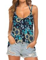 Tobrief Womens Tank Tops for Women Sexy V Neck Floral Printed Backlesss Strappy Shirt(Black Sunflower,XXL)