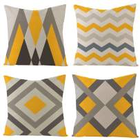 IcosaMro Throw Pillow Covers Set of 4 Yellow Grey Art 18x18 Decorative Pillow Cases Square Zippered Cotton Linen Cushion Cover Room Sofa Decor, Colorful Ripple