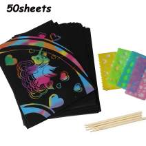 FINGOOO 50 Sheets Scratch Paper Art Set for Kids,Rainbow Magic Scratch Off Arts and Crafts Supplies Kits for Children Girls Boys Birthday Game Party