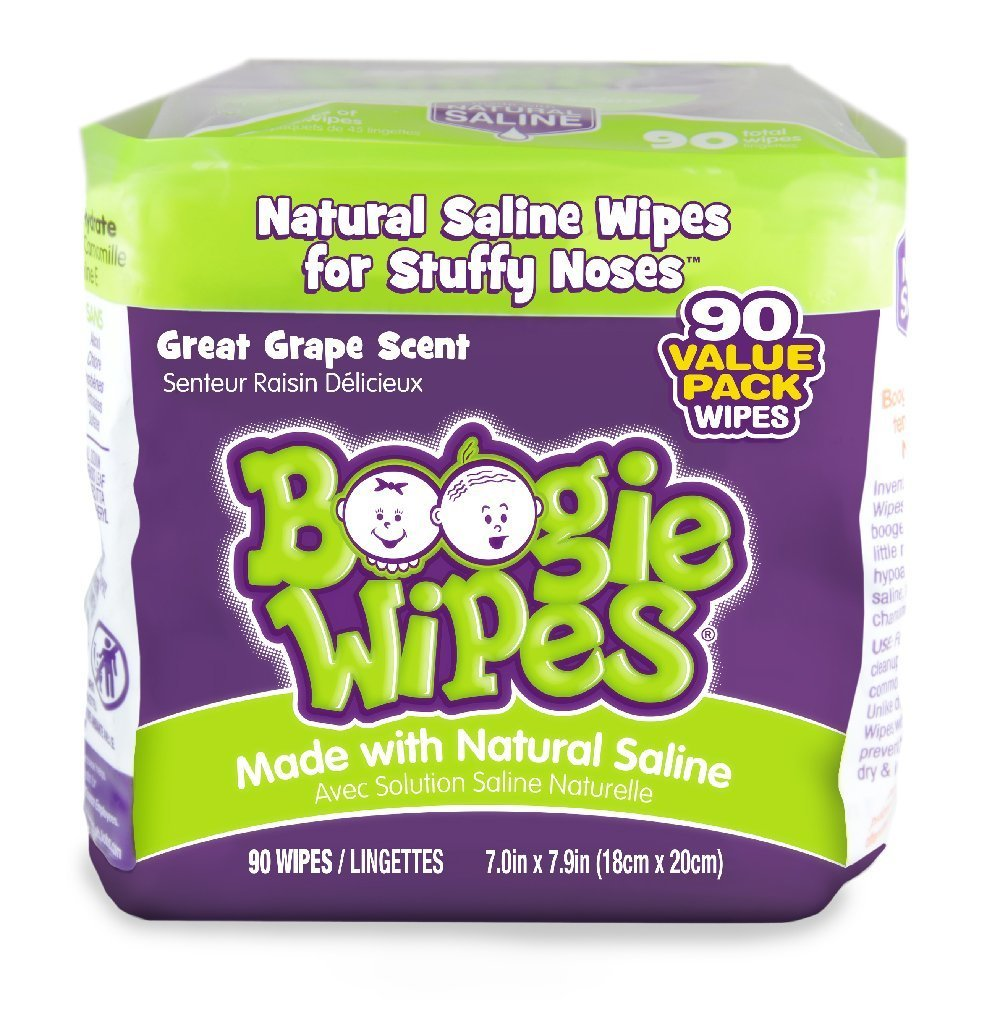 Boogie Wipes, Grape Scent Wet Nose Wipes for Kids and Baby, Allergy Relief, Soft Natural Saline Hand and Face Tissue with Aloe, Chamomile and Vitamin E, 45 Count, Pack of 2