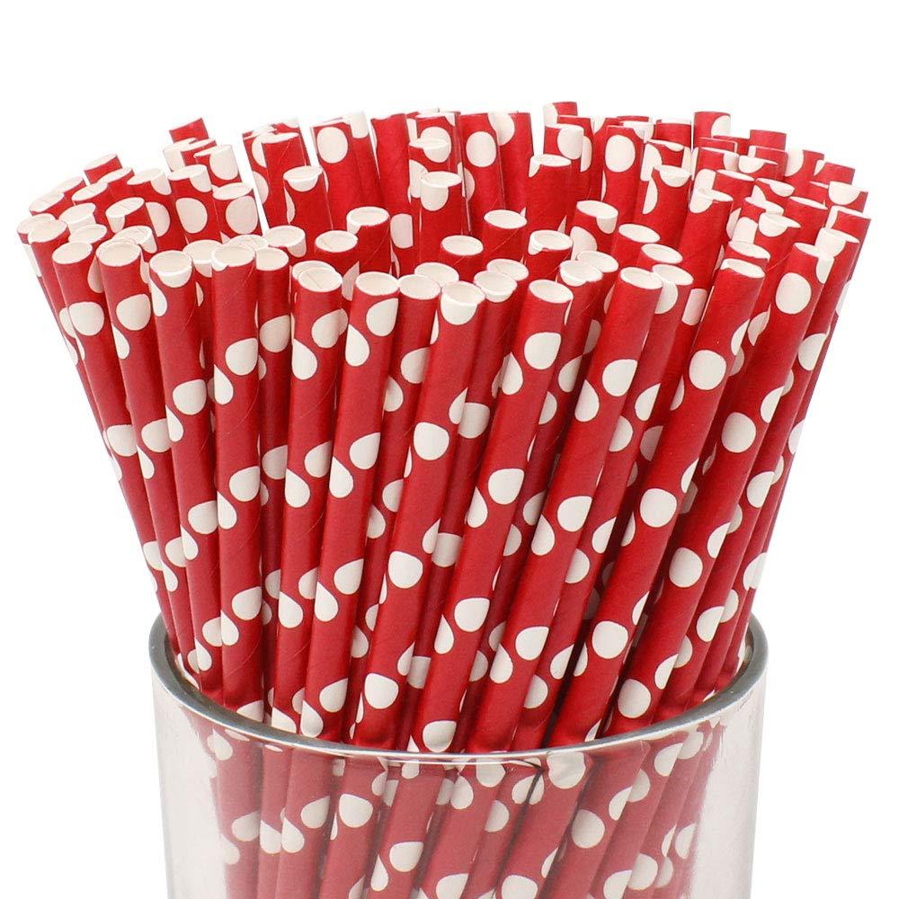 Just Artifacts Decorative Polka Dot Paper Straws (100pcs, Polka Dot, Red w/White Dots)