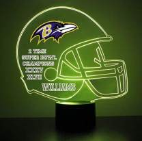 Mirror Magic Light Up LED Lamp - Football Helmet Night Light for Bedroom with Free Personalization - Features Licensed Decal and Remote (Ravens (Baltimore))