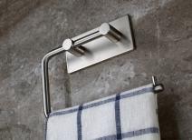TOGU Self-Adhesive Toilet Paper Holder SUS 304 Stainless Steel Rustproof Storage Bathroom Kitchen Paper Towel Dispenser Tissue Roll Hanger, Brushed Finish