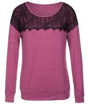 JOYMODE Women's Long Sleeve Tunic Sweater Tops Round Neck Lace Front Tunic Shirts Pullover Sweatshirt