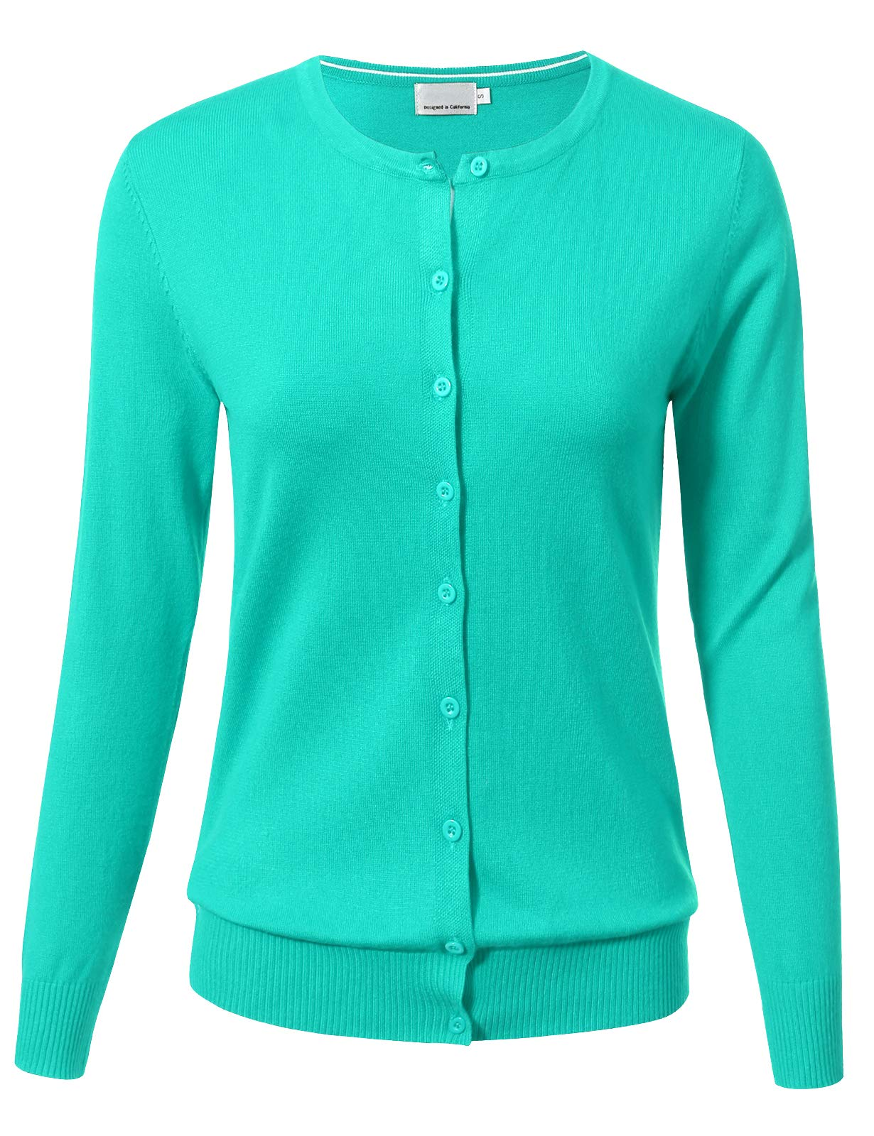 Allsense Women Button Down Long Sleeve Crewneck Soft Knit Cardigan Sweater (S-3XL)