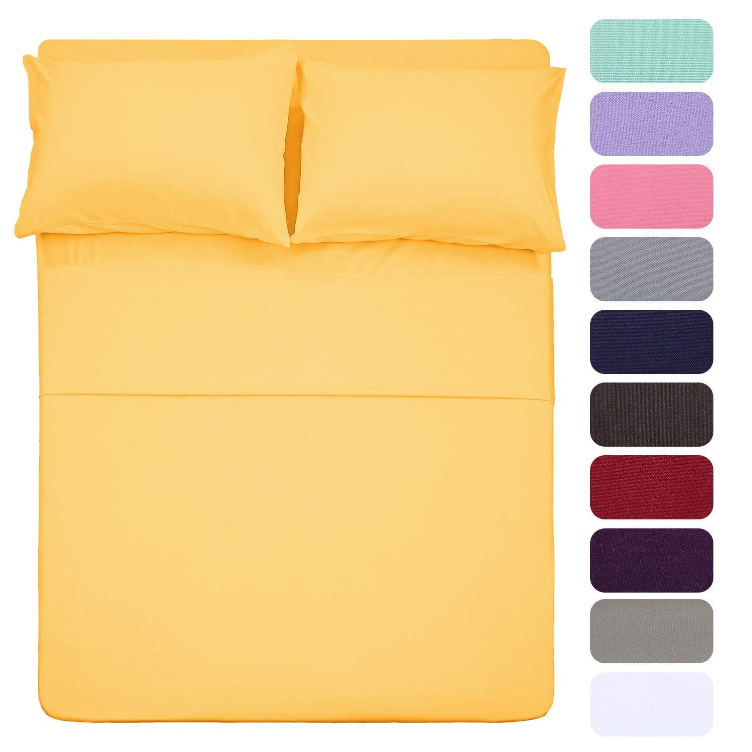 Best Season 4 Piece Bed Sheet Set (Full,Yellow) 1 Flat Sheet,1 Fitted Sheet and 2 Pillow Cases,100% Brushed Microfiber 1800 Luxury Bedding,Deep Pockets,Extra Soft & Fade Resistant