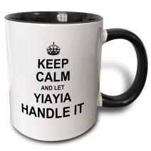 3dRose Keep Calm and let YiaYia Handle it fun funny grandma yia gift Two Tone Black Mug, 11 oz