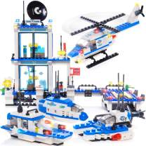 EXERCISE N PLAY 564pcs City Police, City Coast Guard Head Quarters Building Kit, City Police Station Building Sets, City Sets, Police Sets with Ship and Boat for Boys Gifts(Contain Minifigures)