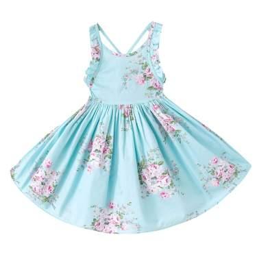 CRAZY GOTEND Toddler Vintage Floral Girls Dress Baby Backless Sundress,Blue 2T