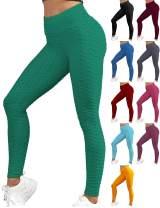 Doublju Womens Textured Leggings with Elastic High Waist