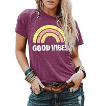 Fenxxxl Womens Good Vibes Tshirt Cute Vintage Graphic Tee Short Sleeve Summer Shirts Juniors Tops