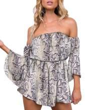 ChainJoy Womens Summer Floral Print Off Shoulder Short Romper Jumpsuit Playsuit