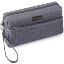 Homecube Pencil Case Big Capacity Pen Bag Makeup Pouch Holder with Double Zippers for Middle High Office College Portable Storage - Dark Gray