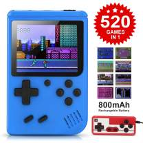 BLANDSTRS Handheld Game Console with 520 Classic FC Games, Retro Mini Game Player 800mAh Rechargeable Battery Portable Game Console Support TV Connection & Two Players for Kids Adults(Blue)