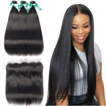 ALLRUN Straight Hair 3 Bundles With Frontal(16 16 16+14Lace Frontal) Brazilian Straight Hair With Lace Frontal Unprocessed Virgin Human Hair Bundles With Frontal Natural Color