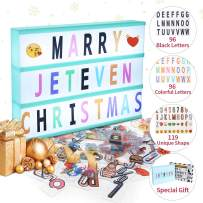 Jeteven Cinema Light Colors Box Colorful Letters Emojis LED for Home Decor Wedding Birthday Parties USB Battery Power (White Light Mint Green Frame)