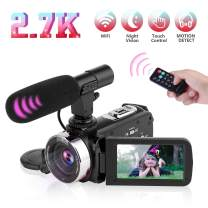 """Video Camera Camcorder Digital Vlogging Camera Video Recorder for YouTube with Microphone 3.0"""" 270° Rotation Screen 2.7K 30FPS UHD 16X Digital Zoom Camcorder with 2 Batteries, Remote Control"""