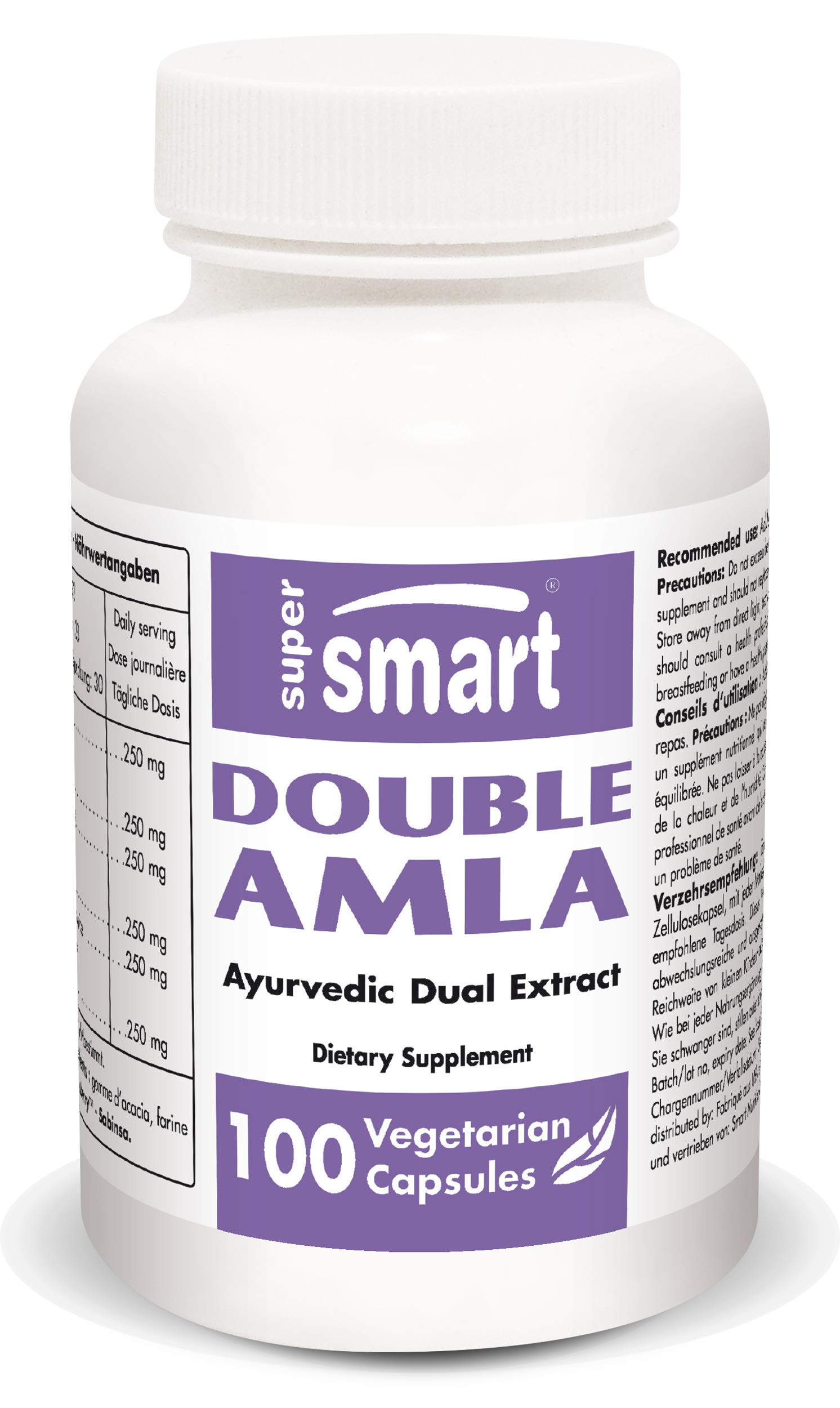 Supersmart - Double Amla - Extract of Emblica Officinalis Standardized to 45% Tannins - Saberry™ - Support Digestive Health - Anti Aging & Anti Oxidant Supplement | Non-GMO - 100 Vegetarian Capsules