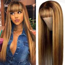 Highlight Non Lace Front Human Hair Wigs With Bangs for Women Machine Made Ombre Honey Blonde Brazilian Virgin Hair Wig Bleached Knots 130% Density 26 Inch