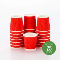 "4 oz Red Paper Coffee Cup - Ripple Wall - 2 1/2"" x 2 1/2"" x 2 1/4"" - 25 count box - Restaurantware"