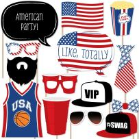 Big Dot of Happiness Red Party Cup - Photo Booth Props Kit - 20 Count