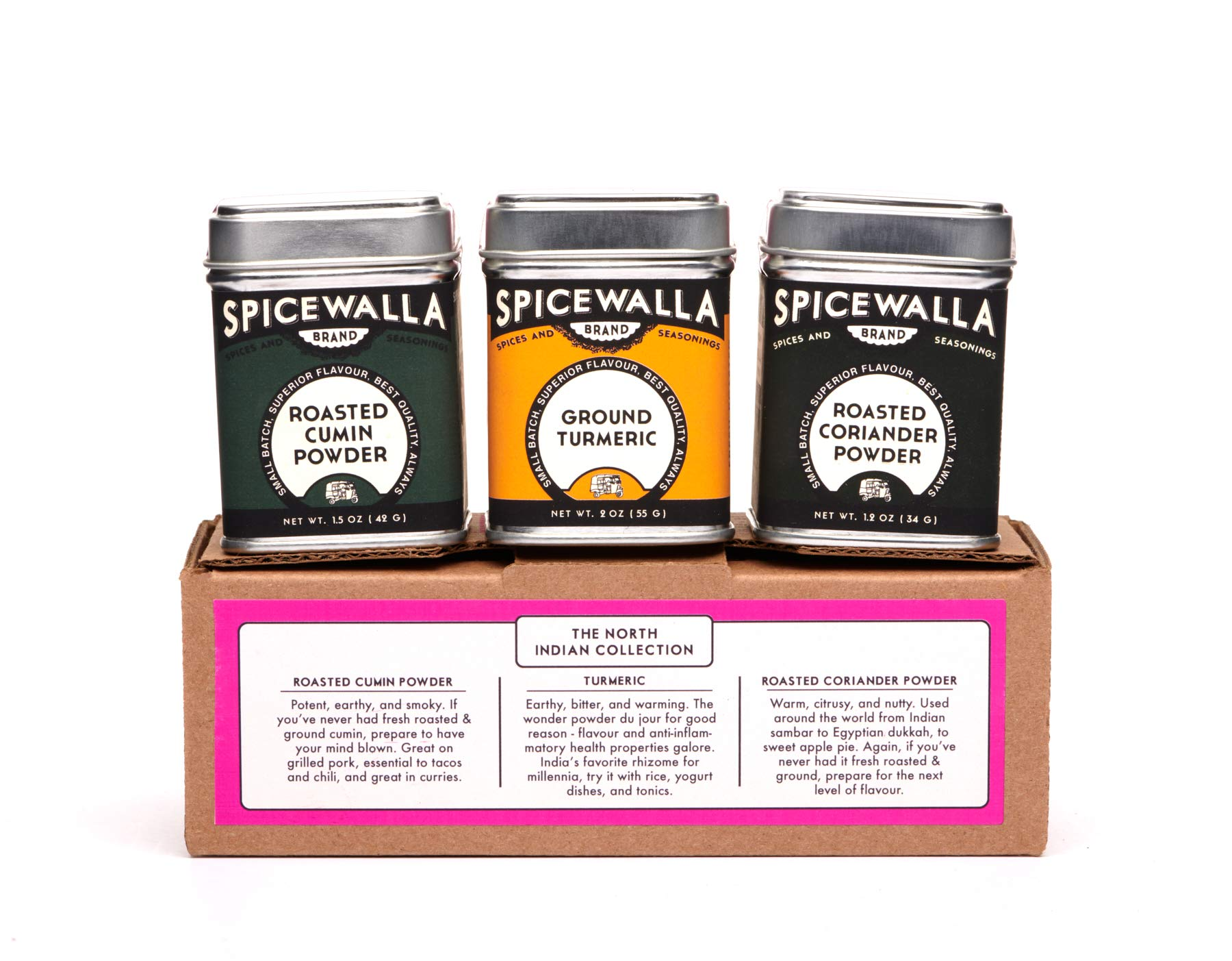 Spicewalla North Indian Spice Collection 3 Pack   Turmeric, Roasted Cumin Powder, Roasted Coriander Powder   Authentic Indian Flavors
